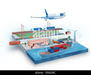 Illustration of global logistic concept - Stock Photo