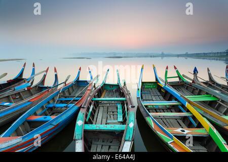Sunrise, Amarapura, Mandalay, Burma, Myanmar - Stock Photo