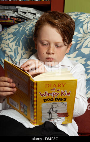 Young boy at home after school reading a book - Stock Photo