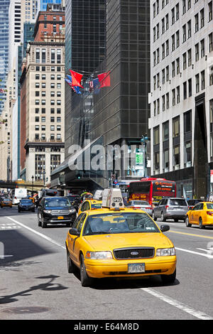 Yellow Medallion taxi in Manhattan. New York, USA. - Stock Photo