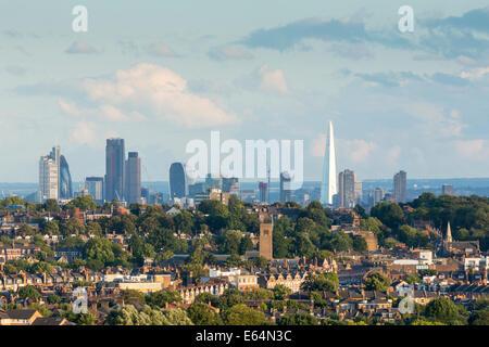 London City Skyline at Evening, from Alexandra Palace. England, UK - Stock Photo