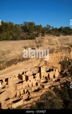 Cliff Palace (over 700 years old), Mesa Verde National Park (UNESCO World Heritage Site), Colorado, USA - Stock Photo