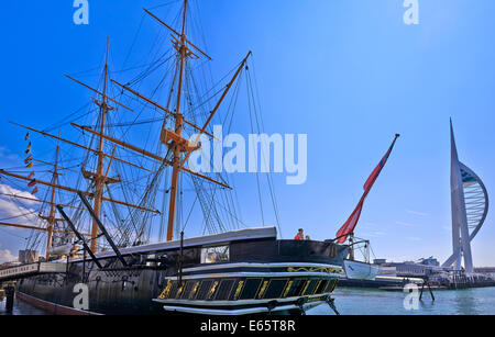 HMS Warrior (1860) was the name ship of her class of two armoured frigates built for the Royal Navy in 1859–61 - Stock Photo