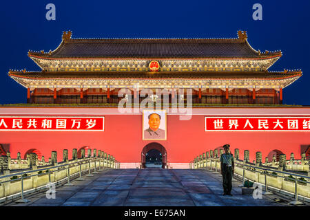 BEIJING, CHINA - JUNE 24, 2014: The Tiananmen Gate at Tiananmen Square. The gate was used as the entrance to the - Stock Photo