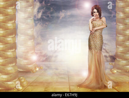 Fantasy. Glam. Enticing Lady in Stylish Dress over Abstract Background - Stock Photo