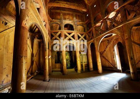 Interior of Borgund Stave Church, Sogn og Fjordane, Norway - Stock Photo