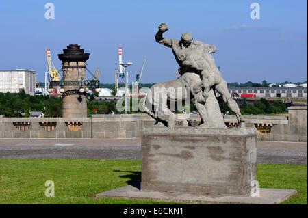 Waly Chrobrego at river Oder in Szczecin, Poland, Europe - Stock Photo