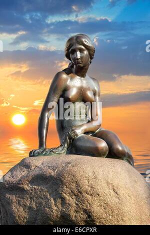The Little Mermaid Statue, Copenhagen, Denmark - Stock Photo