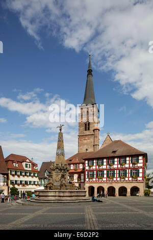Königsplatz square, Town Hall, protestant Town Church of St. Johannis and St. Martin, built 1469 - 1495 - Stock Photo