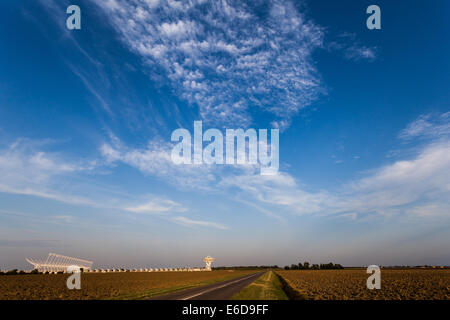 Radioastronomy station in Medicina, Italy a part of European Very Long Baseline Interferometry Network - Stock Photo