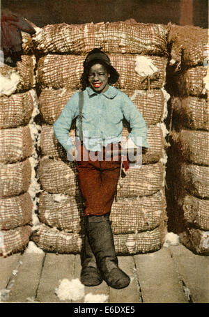 African-American Boy Standing Against Bales of Cotton, ' I Wasn't Born to Labor, Detroit Publishing Company, Hand - Stock Photo
