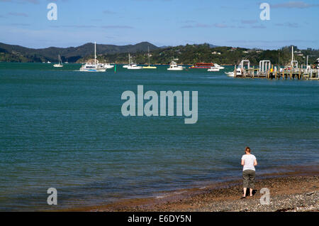 Bay of Islands at the town of Paihia, North Island, New Zealand. - Stock Photo