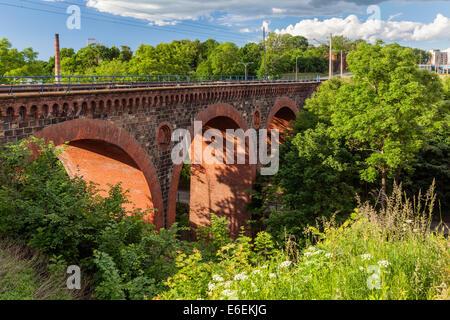 Antique bridges in Olsztyn, Warmia and Mazury, Poland - Stock Photo