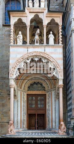 Thenorthern entrance to the  Basilica di Santa Maria Maggiore, Piazza Vecchia, Bergamo Alta, Lombardy, Italy - Stock Photo