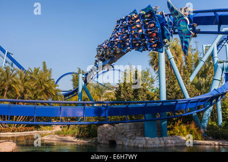 Manta roller coaster at Sea World in Orlando, Florida - Stock Photo