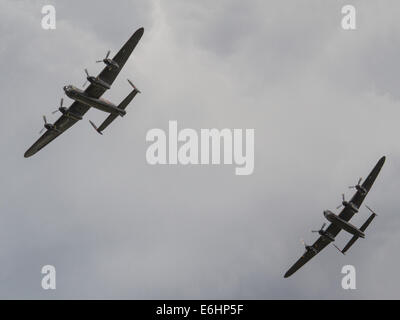 Dunsfold, UK. 23rd Aug, 2014. The Canadian Warplane Heritage Museum Avro Lancaster Mk. X World War 2 heavy bomber - Stock Photo