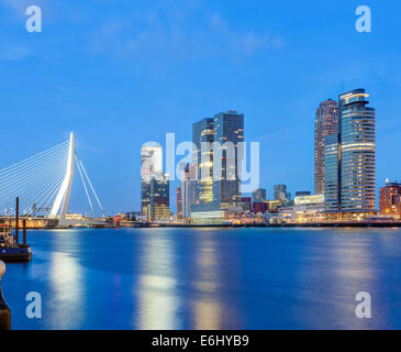 Rotterdam skyline cityscape. Erasmus Bridge and Wilhelmina Pier docklands Cruise Terminal modern buildings the Kop - Stock Photo