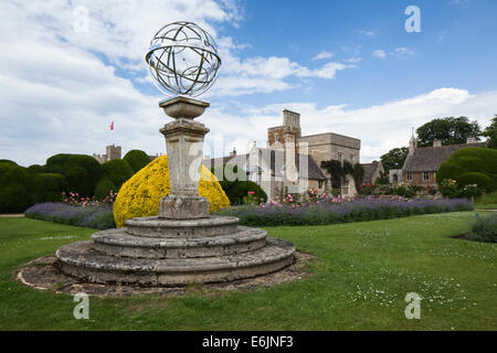 Contemporary sculptural artwork within the Cross Garden and famous Elephant hedge topiary at Rockingham Castle, - Stock Photo