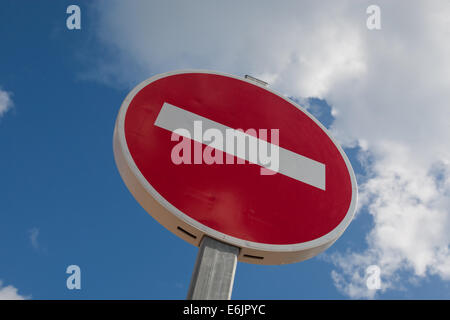 No entry sign for road traffic in France photographed against a summer blue sky - Stock Photo