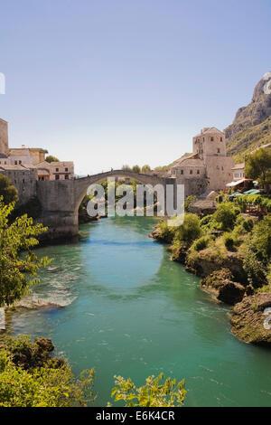 The new Old Bridge over the Neretva River, historic centre, Mostar, Bosnia and Herzegovina - Stock Photo