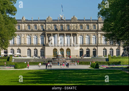 Herrenchiemsee New Palace, Schlosspark palace gardens, Herreninsel island, Chiemsee lake, Chiemgau, Upper Bavaria, - Stock Photo