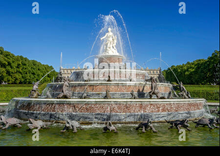 Fountain of Latona, Herrenchiemsee New Palace, Schlosspark palace gardens, Herreninsel island, Chiemsee lake, Chiemgau - Stock Photo