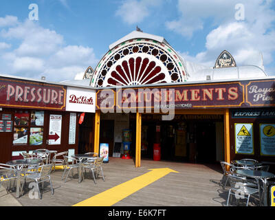 Entrance to the Royal Pier in Aberystwyth Wales UK - Stock Photo