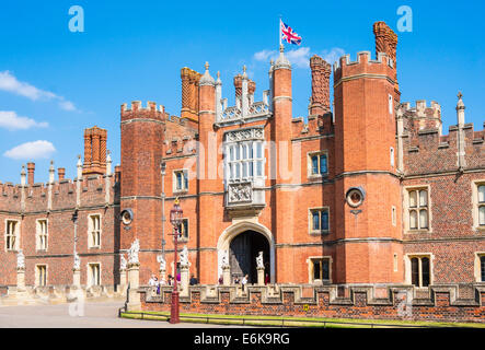 Hampton Court Palace West Front Main Entrance London England UK GB EU Europe - Stock Photo