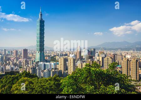 Taipei, Taiwan downtown skyline at the Xinyi Financial District. - Stock Photo