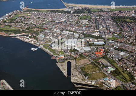 aerial view of South Shields, Tyne & Wear, UK - Stock Photo