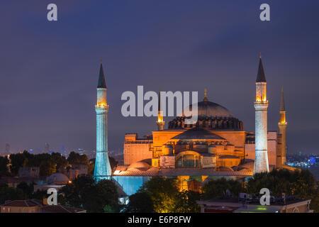 The Hagia Sophia lit up at night. - Stock Photo