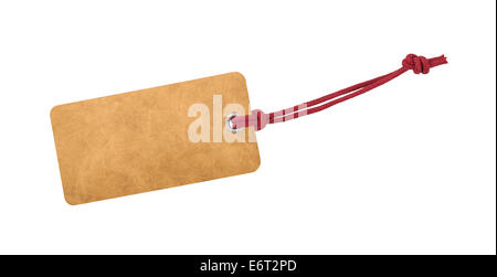 Etiquette with cord isolated on white - Stock Photo