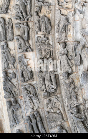 Detail of stone carvings over the doorway of the Cathedral of St Julien Le Mans, France, Europe - Stock Photo