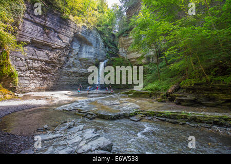Eagle Cliff Falls in Havanna Glen in the town of Montour Falls in the Finger Lakes of New York - Stock Photo