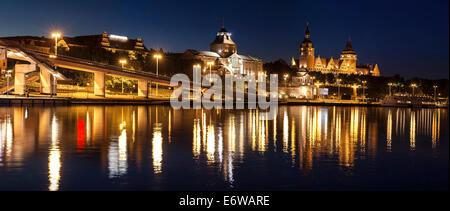 Chrobry Embankment in Szczecin (Stettin) City at night, Poland. - Stock Photo