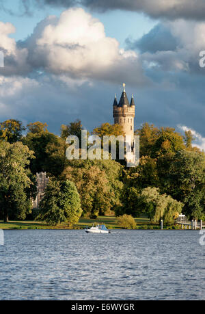 Tiefen See Lake on the Havel, Sailors' House and Flatow Tower in Park Babelsberg, Potsdam, Land Brandenburg, Germany - Stock Photo