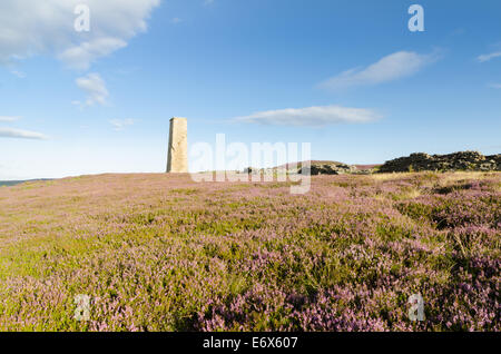 Cobscar lead mine in Wensleydale with heather in flower - Stock Photo
