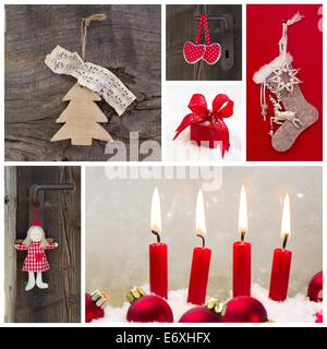 Rustic country decoration for christmas in red and wood with four candles and an angel - Stock Photo