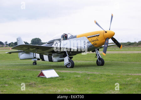 This is North American P-51D Mustang 44-73149, Ferocious Frankie displayed at Shoreham Airshow 2014 - Stock Photo