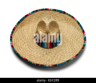 Mexican Fiesta Straw Hat Isolated on White Background. - Stock Photo