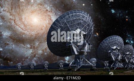 The VLA - Very Large Array - Radio Telescope in Socorro, New Mexico - Stock Photo