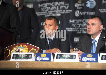 Sergey Kovalev during a press conference at the Waldorf-Astoria hotel to promote a planned Saturday, Nov. 8, 12 - Stock Photo