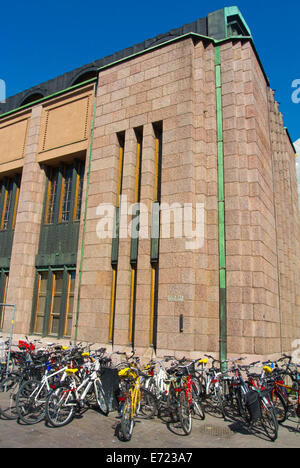Bicycles parked in front of main railway station, Helsinki, Finland, Europe - Stock Photo