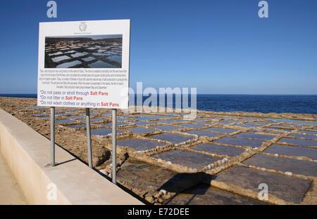 Malta, Gozo, Sea Salt Pans on the north coast. - Stock Photo