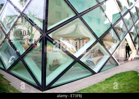 Prada, famous fashion store, shop and tourist attraction. Omote-sando, Harajuku area, Tokyo, Japan, Asia - Stock Photo