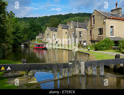 Canal basin on the Rochdale Canal in Hebden Bridge, Calderdale, West Yorkshire, England UK - Stock Photo