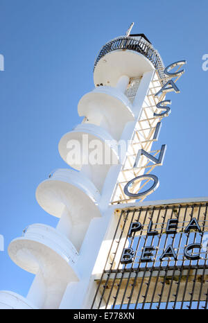 Art Deco spiral staircase adjacent to the Casino at Blackpool Pleasure Beach in Blackpool, Lancashire - Stock Photo