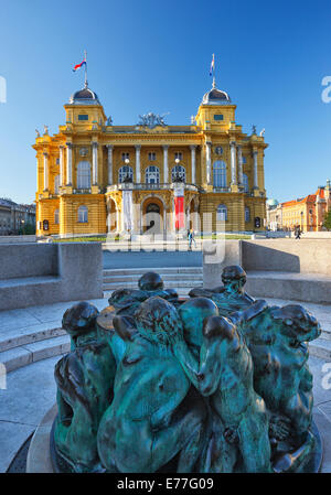 Zagreb town - Theatre HNK, Sculpture, Ivan Mestrovic's Sculpture Fountain of Life - Stock Photo