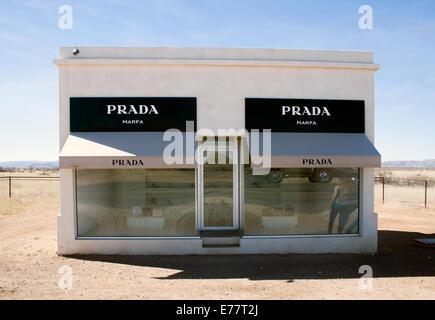 Prada store art installation in the desert in Valentine Texas - Stock Photo