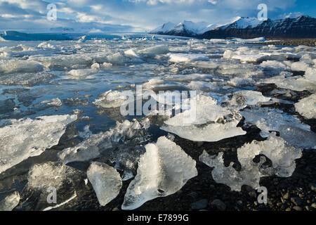 Jökulsárlón glacial lagoon, eastern Iceland - Stock Photo